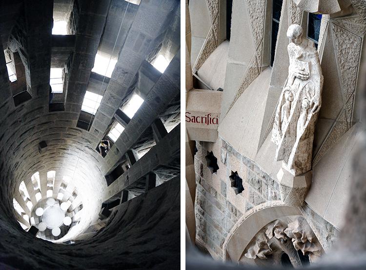 Udsigt fra tårnet i Gaudís kirke Sagrada Familia i Barcelona