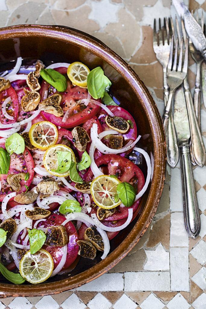 Tomat-figensalat med citron