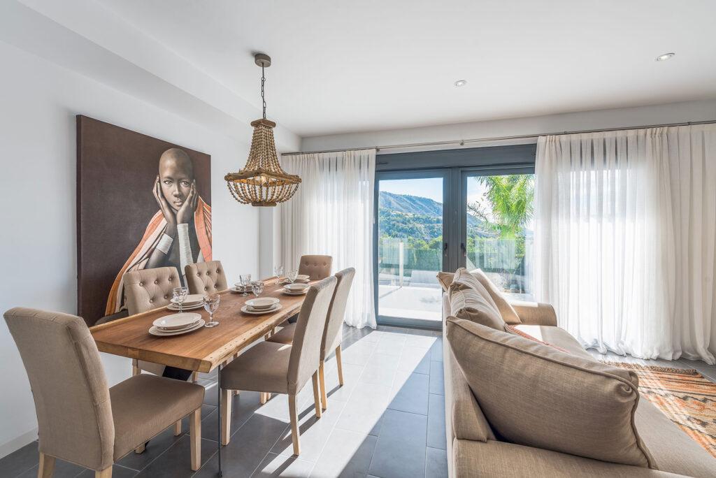 Stuen i en af Medland Spains villaer i Orcheta
