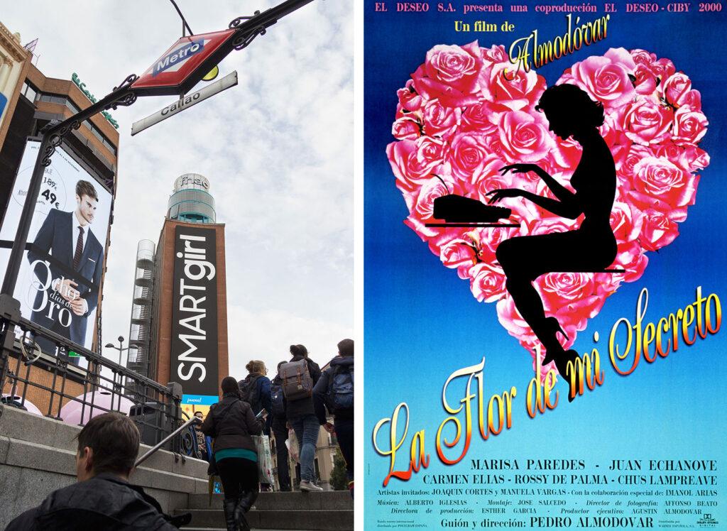 Oplev filminstruktøren Pedro Almodóvars Madrid - Min hemmeligheds blomst er optaget på Plaza Callao