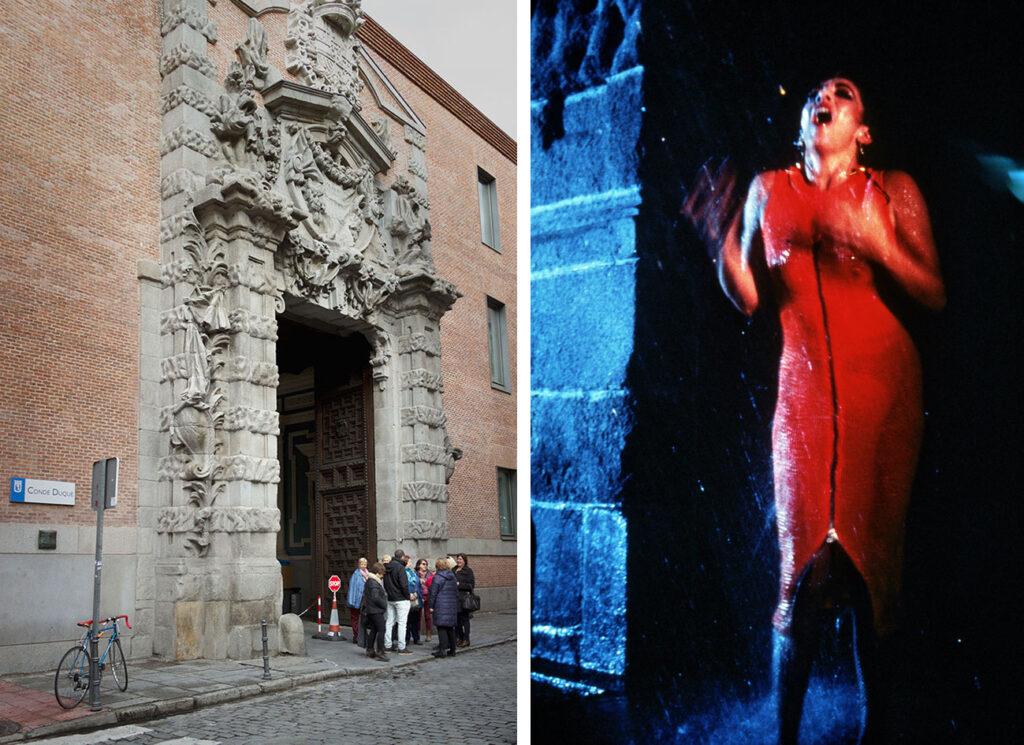 Den mest berømte scene fra Begærets lov er påtaget foran Conde Duque i Madrid.