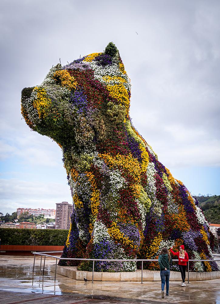 """Jeff Koons blomsterhund """"Puppy"""" ved Guggenheimmuseet i Bilbao"""
