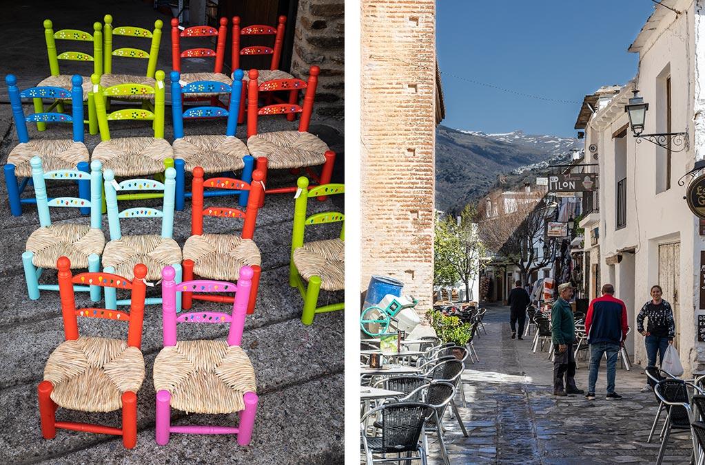 Håndlavede fletstole sælges overalt i de små landsbyer i Aplujarra.