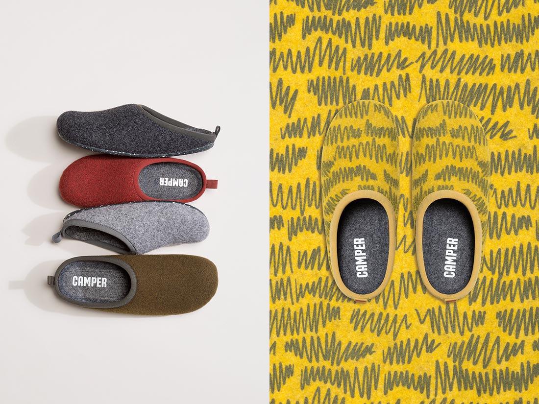 Hop i et par ensfarvede eller printede bæredygtige Wabi slippers fra Camper.