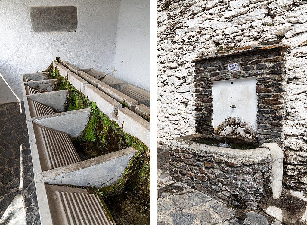 Gamle vaskebræt og springvand i Bubión i Alpujarra.