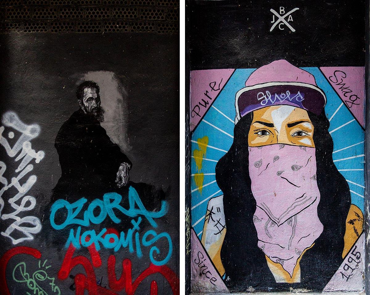 SPortrætter af gadekunstnerne Zoilo og Jesús Azuaga i Málagas Soho-kvarter.