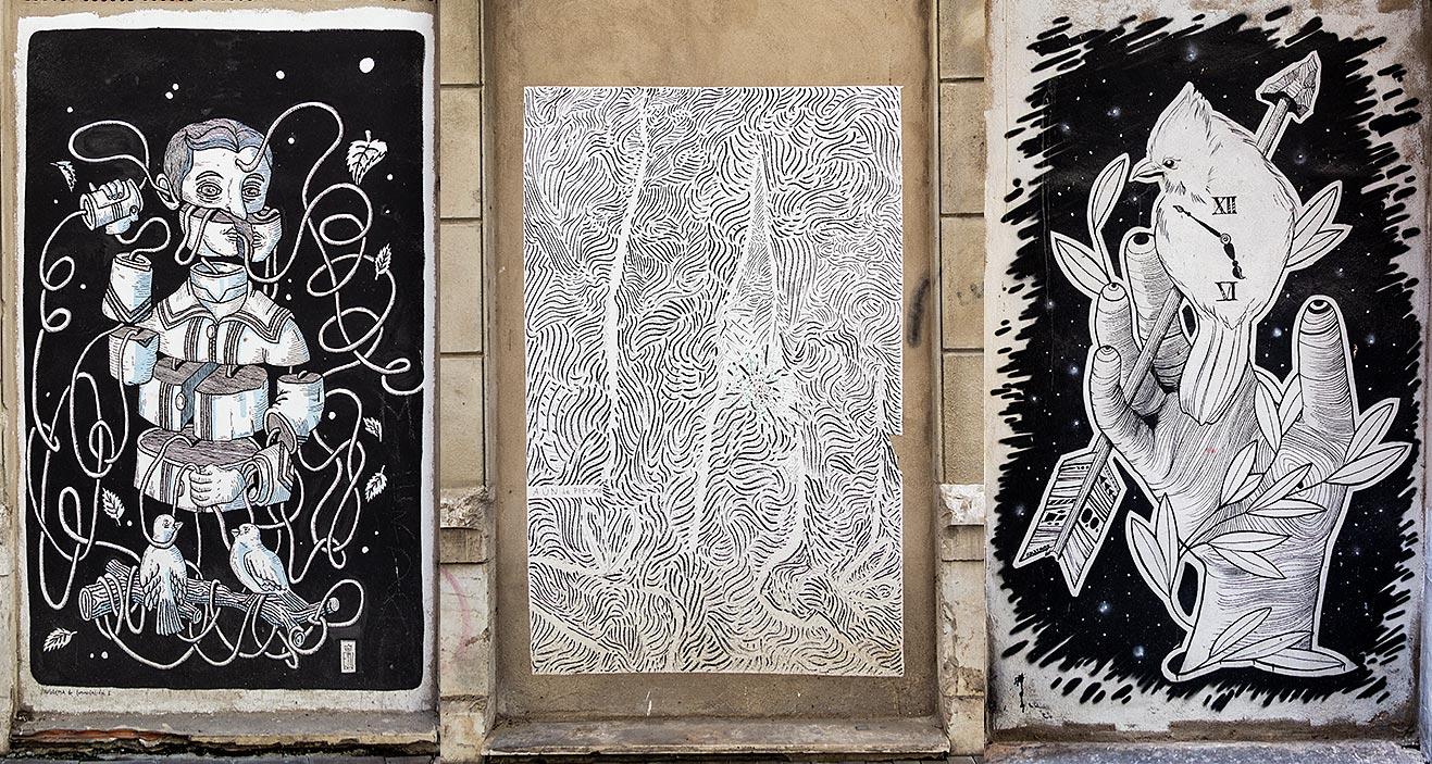 Værker af de spanske kunstnere og Rubén (th), Emmanuel Lafont og José Medina Galote i gaderne Simonet og Tomás Heredia.